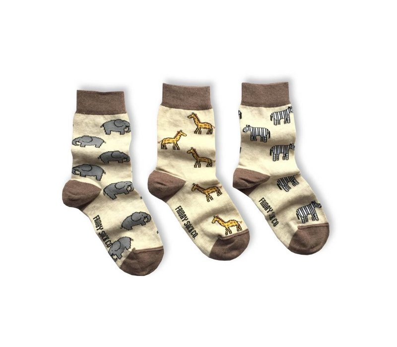 Safari Mismatch Kids Socks