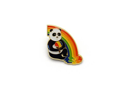 Lucky Horse Press Panda Rainbow Snow Cone Enamel Pin
