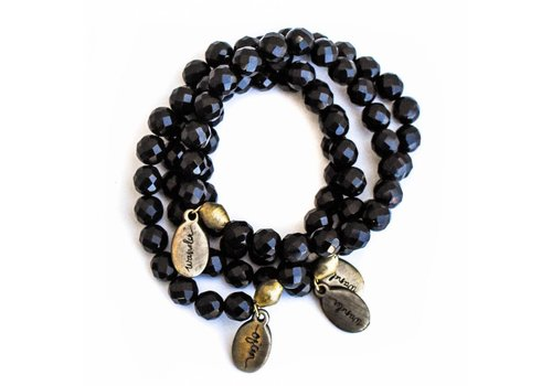 Often Wander Beaded Bracelet - Black Agate