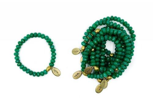 Often Wander Beaded Bracelet - Forest Green Jade