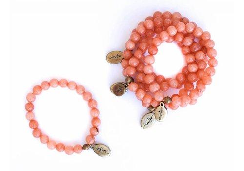 Often Wander Beaded Bracelet - Peach Jade