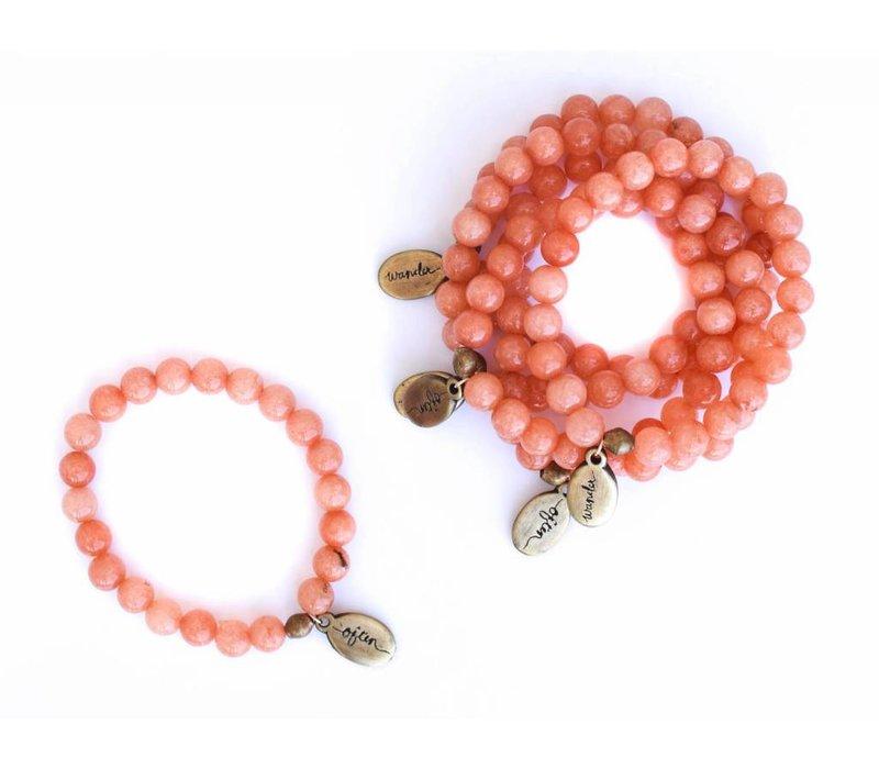 Beaded Bracelet - Peach Jade