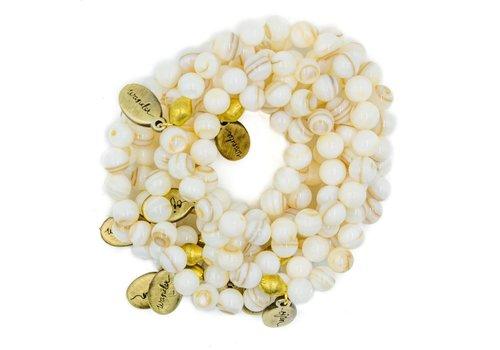 Often Wander Beaded Bracelet - White Shell
