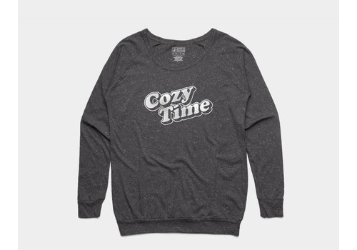 Shop Good Cozy Time Womens Slouch Crew Asphalt Heather
