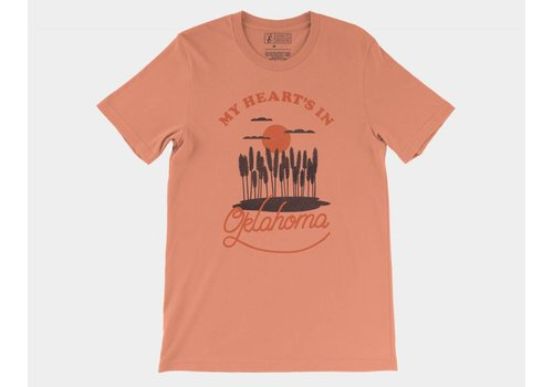 Shop Good My Heart's In Oklahoma Tee Sunset