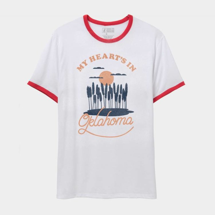 Shop Good My Heart's In Oklahoma Ringer Tee