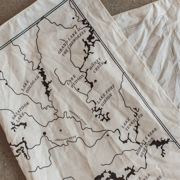 Shop Good OK Rivers Map Bandana Natural