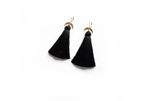 Larissa Loden Black Moon Tassel Earrings