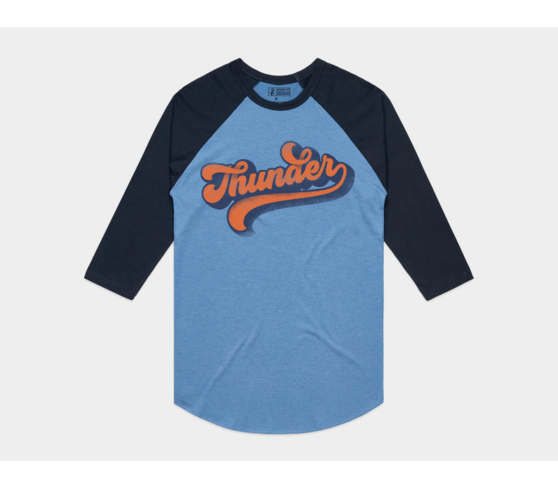 Thunder Vibes Baseball Tee Heather Blue