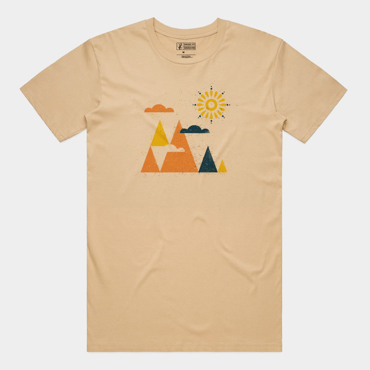 Shop Good Woodblock Mountains Tee Tan