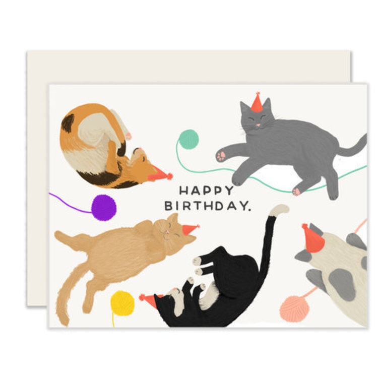 Slightly Cats Birthday Greeting Card
