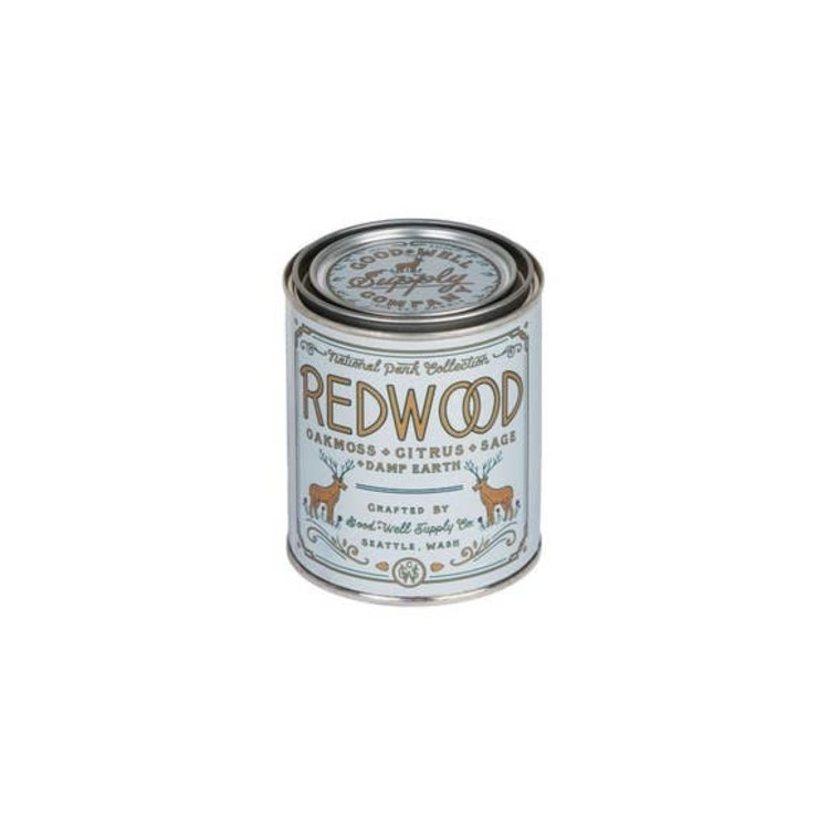 Good & Well Supply Co. Redwood 1/2 Pint Soy Candle - Oakmoss Sage Citrus + Damp Earth