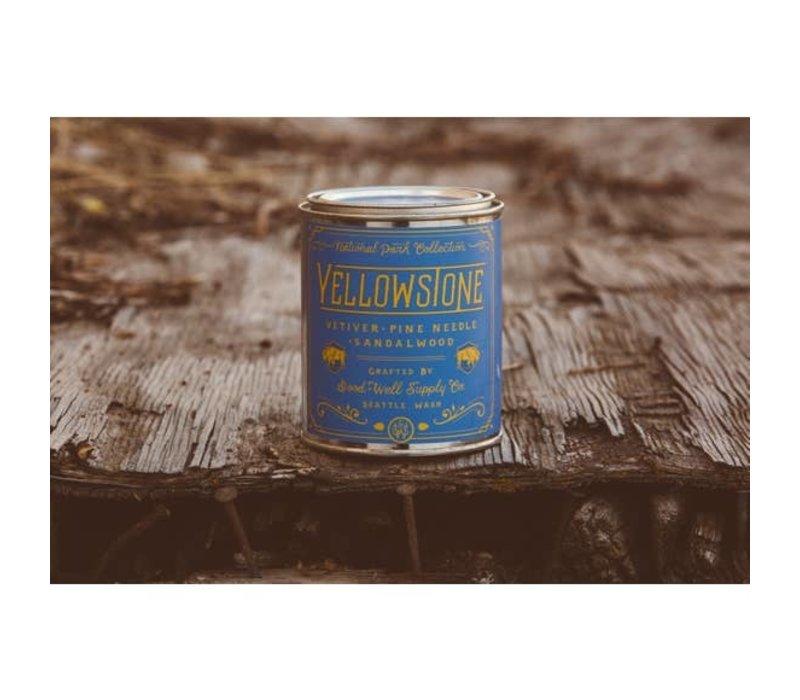 Yellowstone 1/2 Pint Soy Candle -Vetiver Pine Needle + Sandalwood