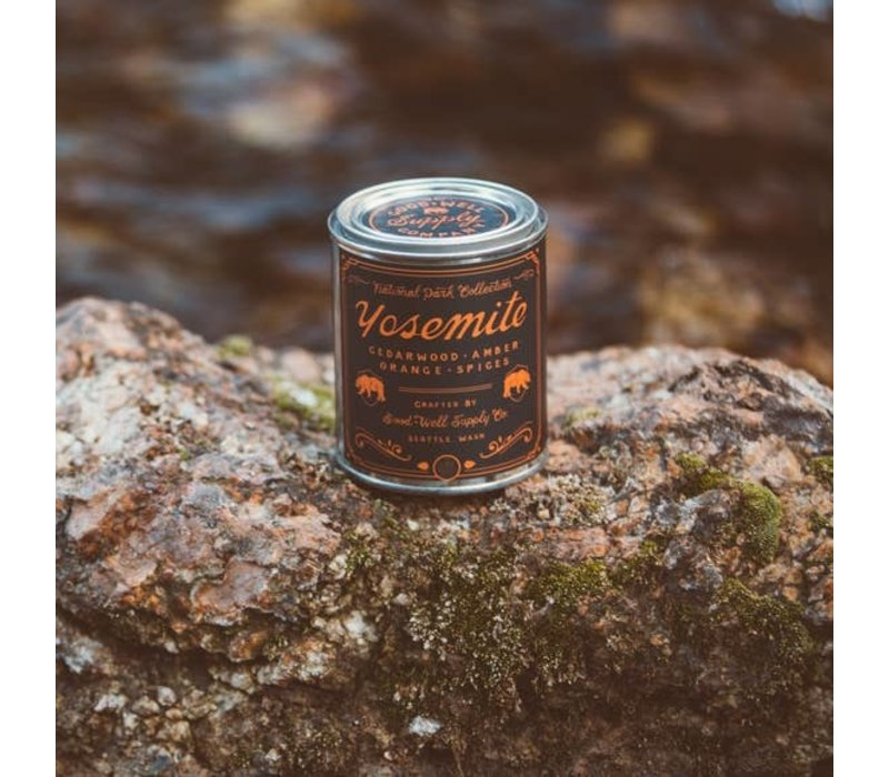 Yosemite 1/2 Pint Soy Candle - Cedarwood Amber Orange + Spice