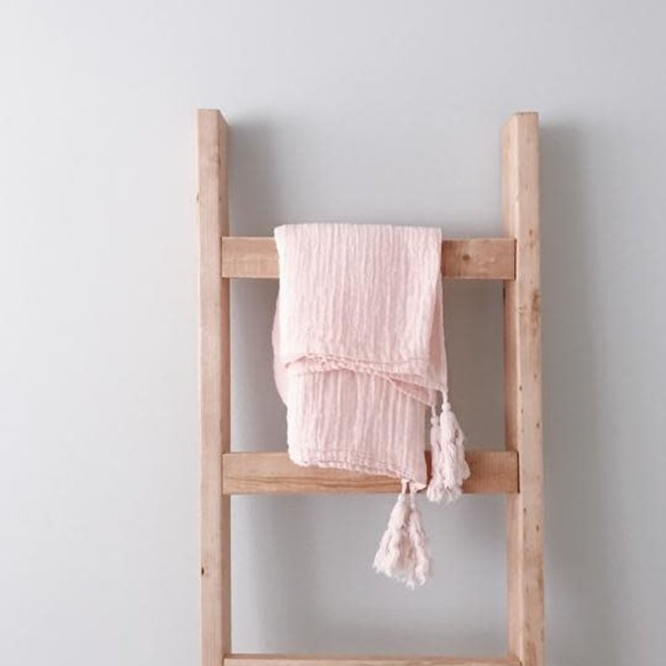 Modern Burlap Organic Cotton Muslin XL Throw Blanket - Dusty Pink Tassels
