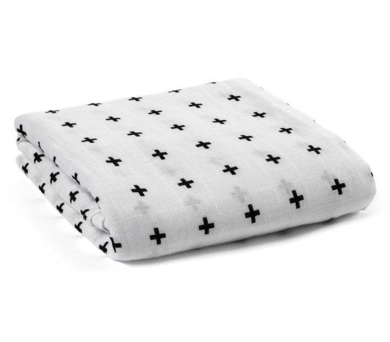 Organic Cotton Muslin Swaddle Blanket - Swiss Cross