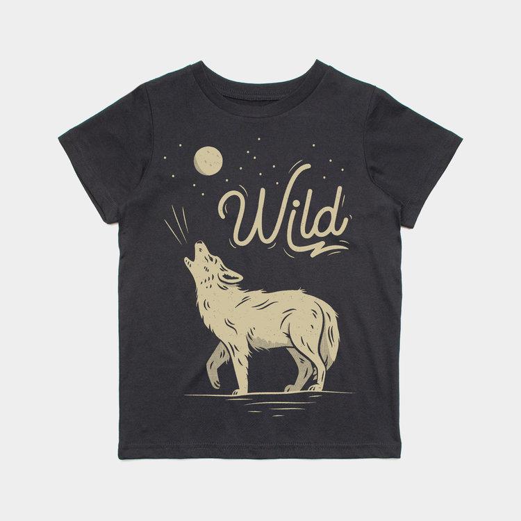 Shop Good Wild Wolf Kids Tee Dark Grey Heather