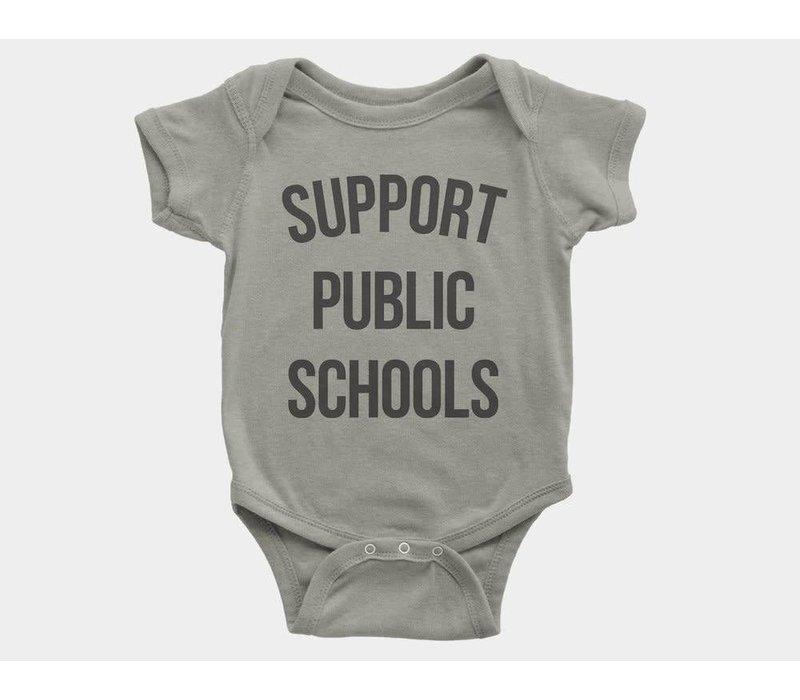 Support Public Schools Kids Onesie Heather Stone