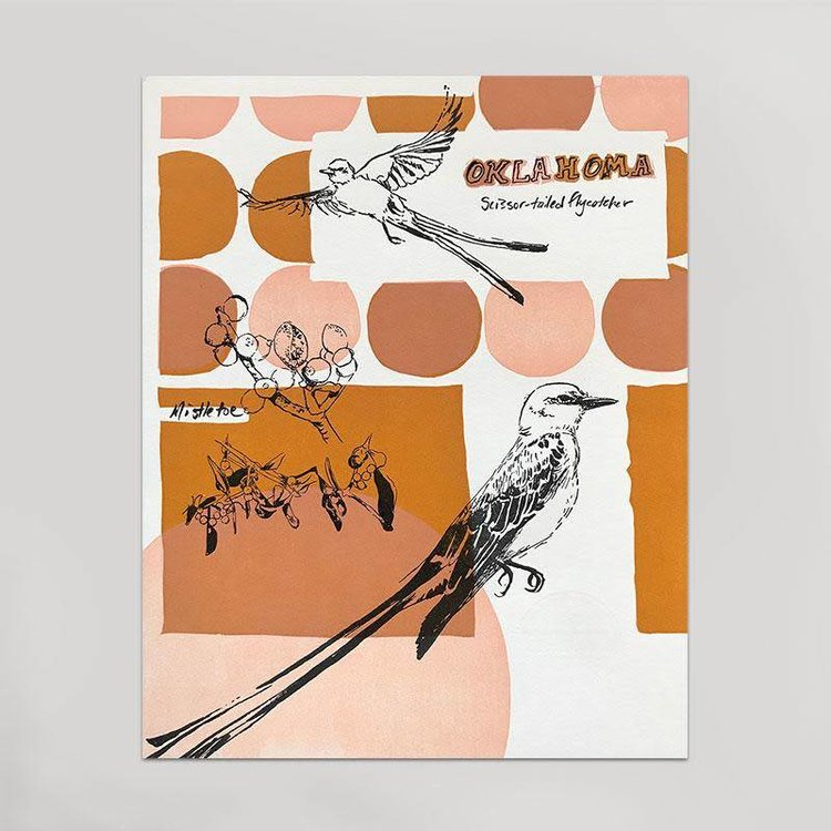 Hammerpress Oklahoma Art Print - Scissortails & Mistletoe