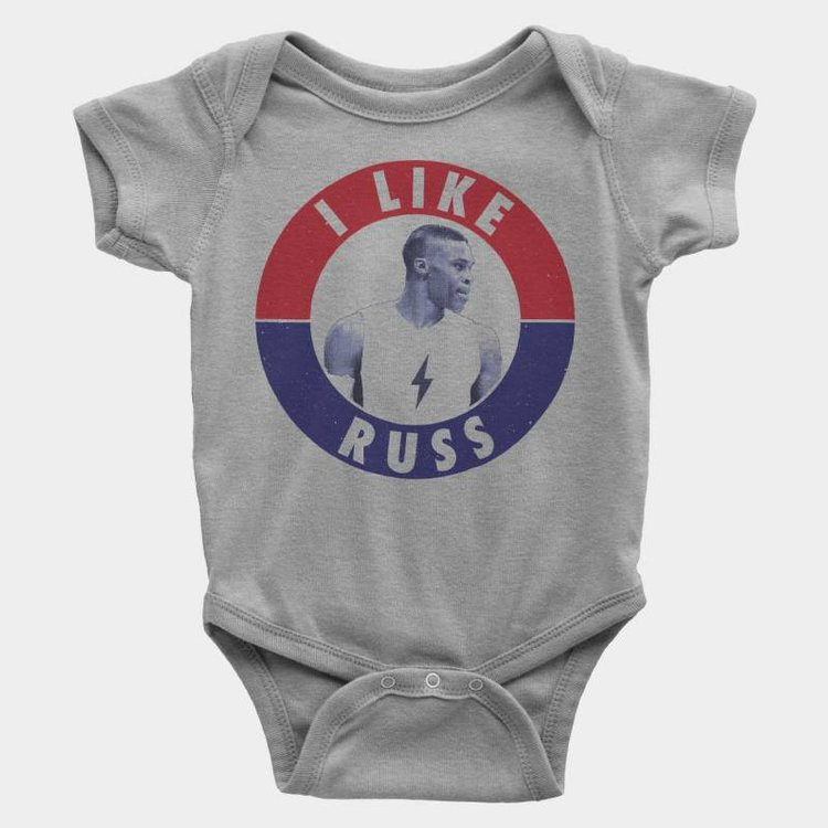Shop Good I Like Russ Kids Onesie Athletic Heather