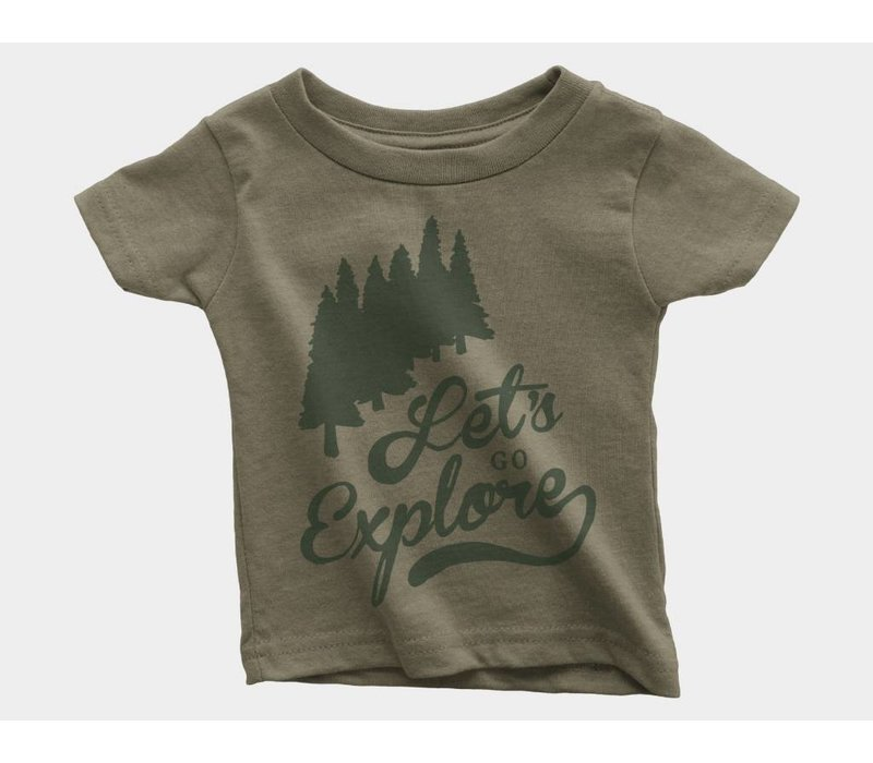 Let's Go Explore Kids Tee Olive Triblend
