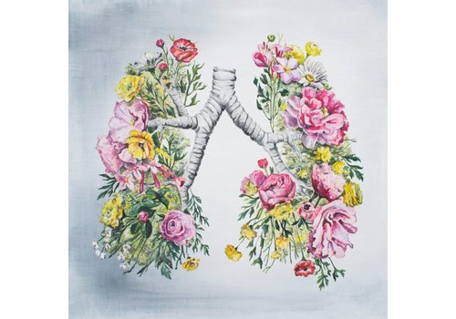 Tiny Art Shop Floral Anatomy Lungs Art Print