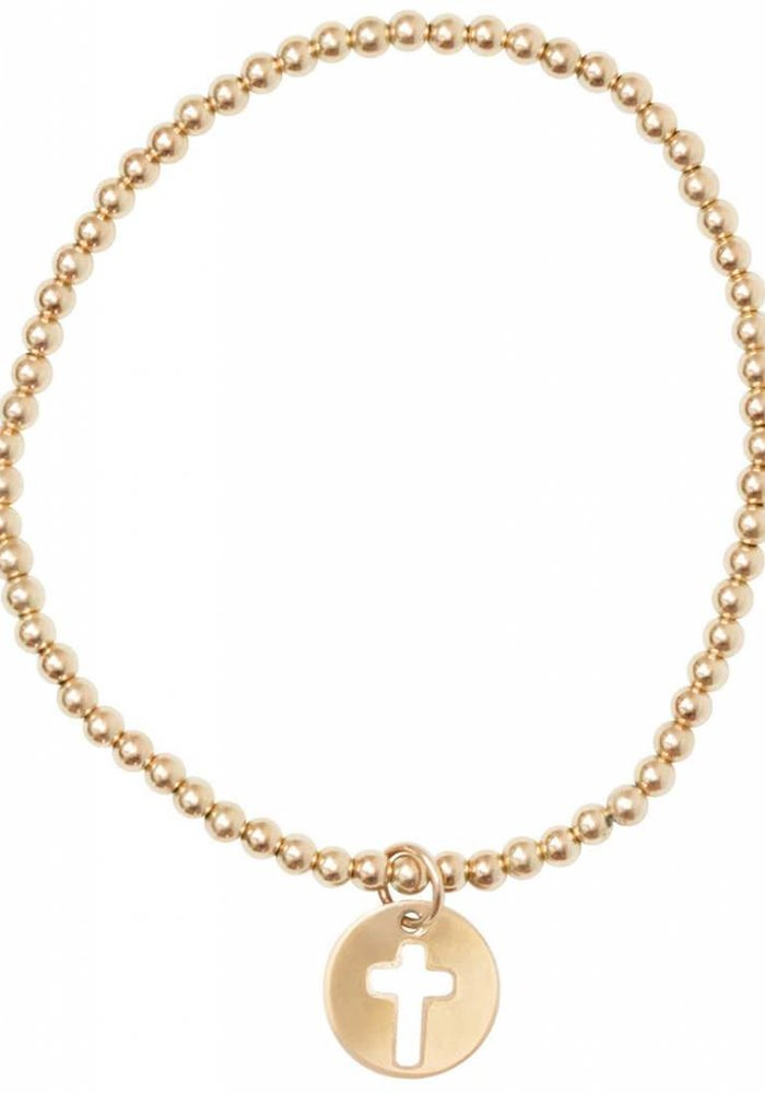 Classic Gold 3mm Bead Bracelet Blessed Charm