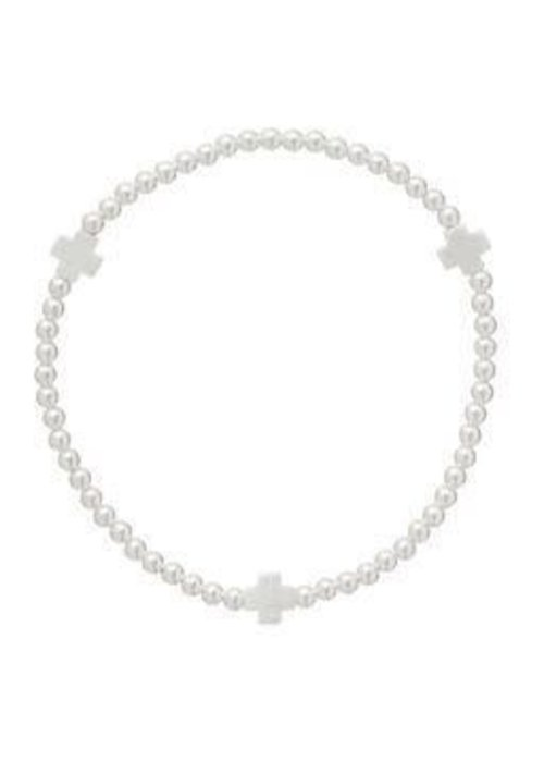 Enewton Signature Cross Sterling Pattern 3mm Bead Bracelet Matte Sterling Mini