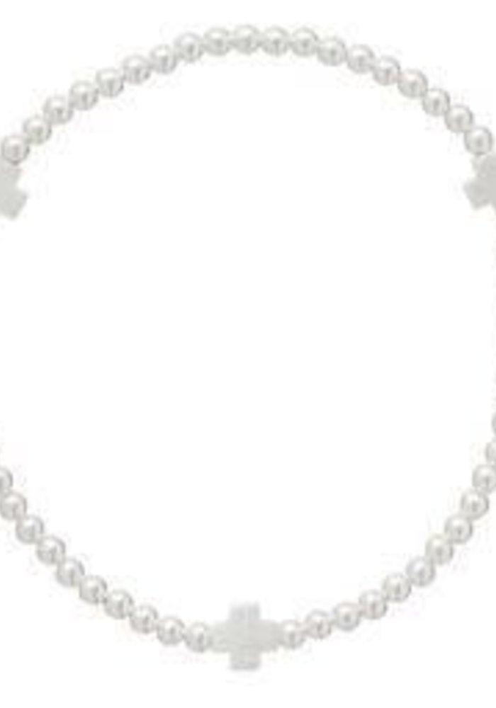 Signature Cross Sterling Pattern 3mm Bead Bracelet Matte Sterling Mini