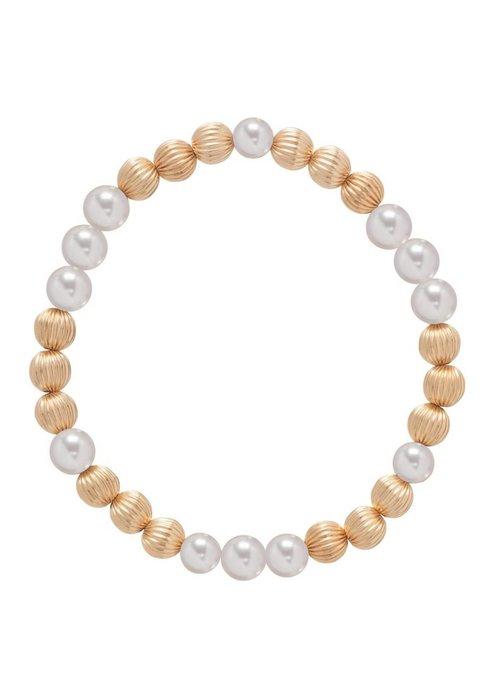 Enewton Dignity Gold Pattern 6mm Bead Bracelet Pearl
