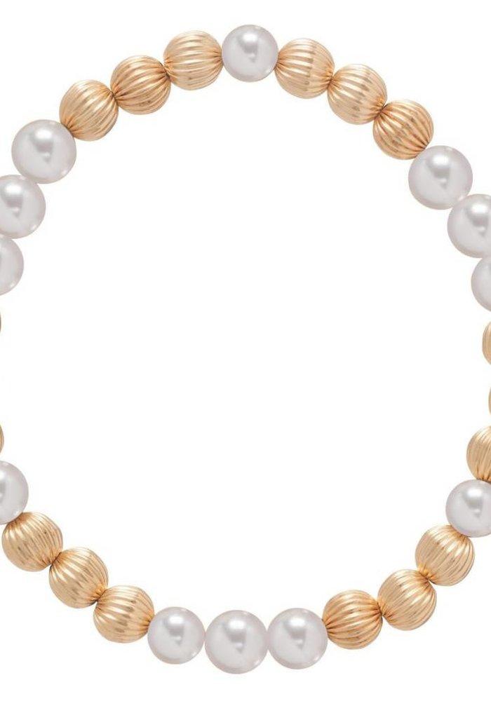 Dignity Gold Pattern 6mm Bead Bracelet Pearl