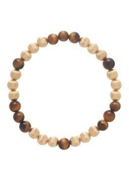 Enewton Dignity Gold Pattern 6mm Bead Bracelet Tiger Eye