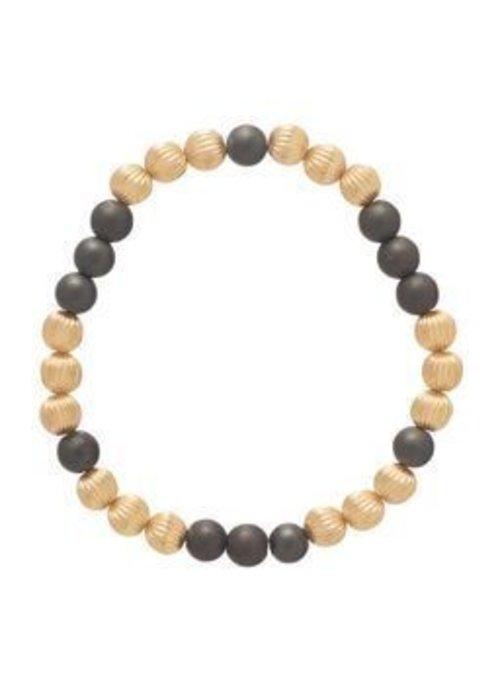 Enewton Dignity Gold Pattern 6mm Bead Bracelet Hematite