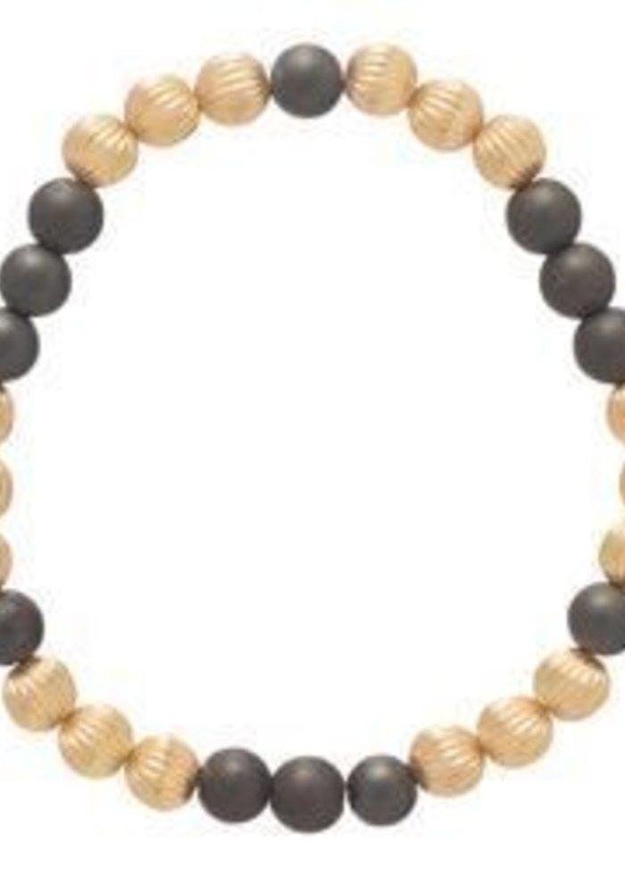 Dignity Gold Pattern 6mm Bead Bracelet Hematite