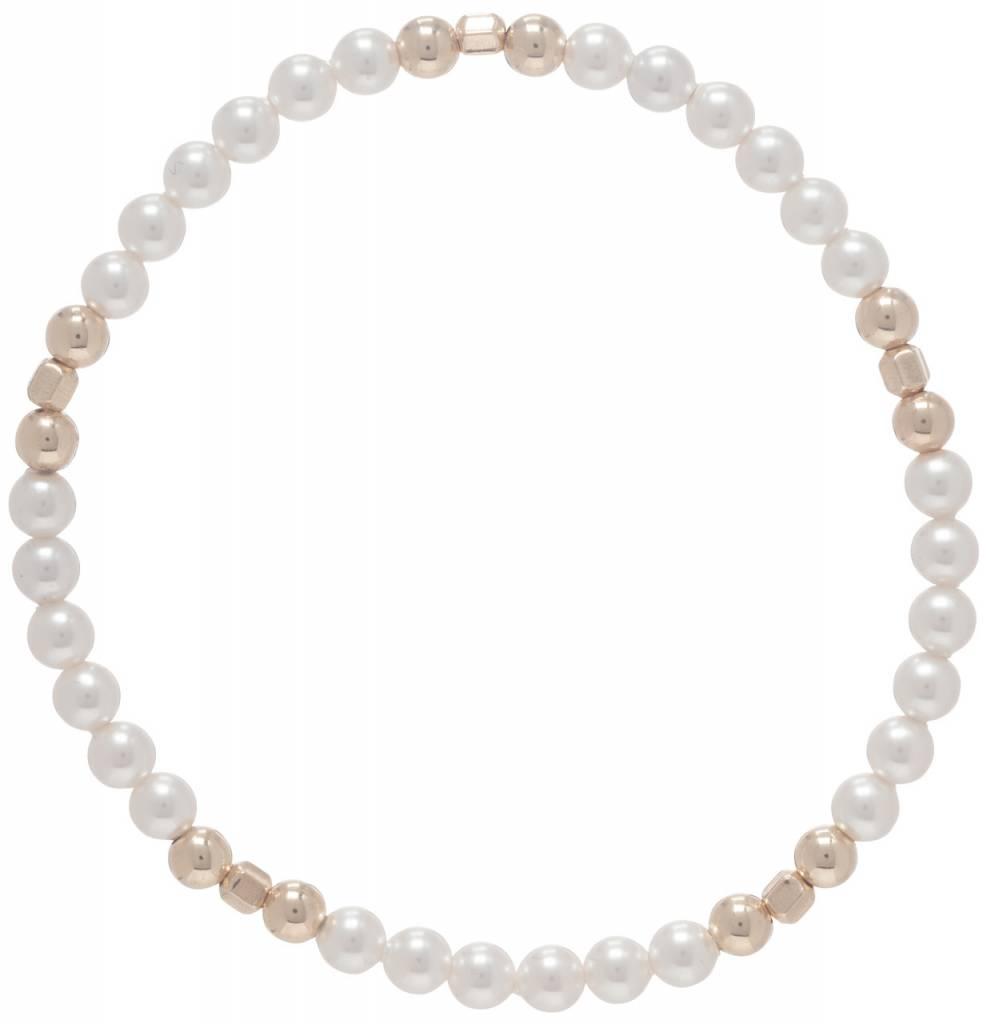 Enewton Medici Pattern Gold 4mm Bead Bracelet Pearl