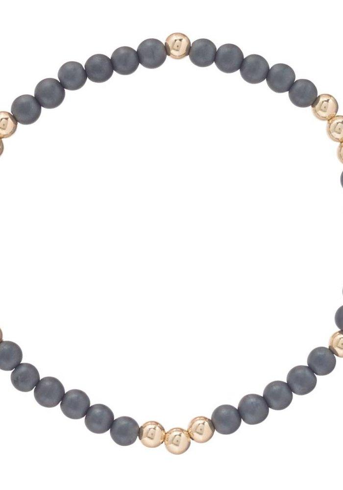 Worthy Pattern 4mm Bead Bracelet Hematite