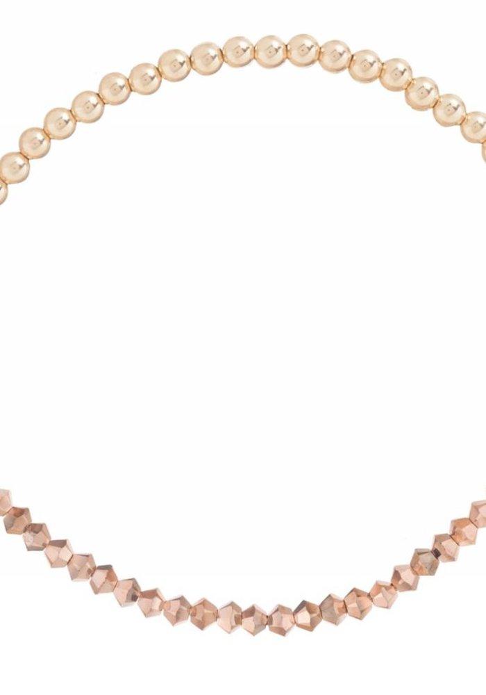 Crystal Bliss Gold 3mm Bead Bracelet Rose Gold