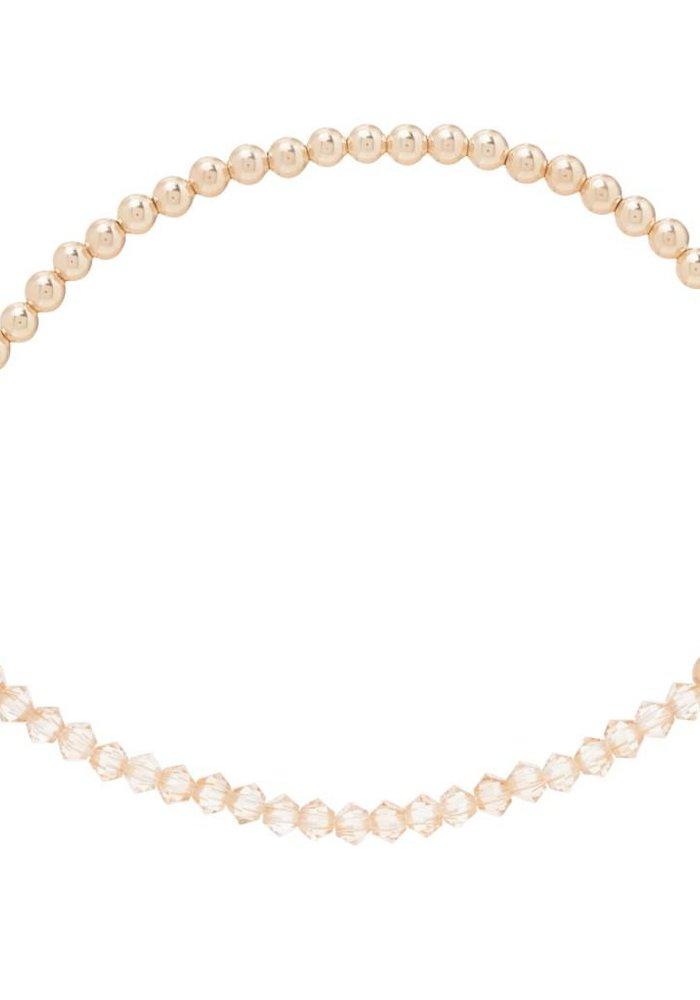 Crystal Bliss Gold 3mm Bead Bracelet Champagne