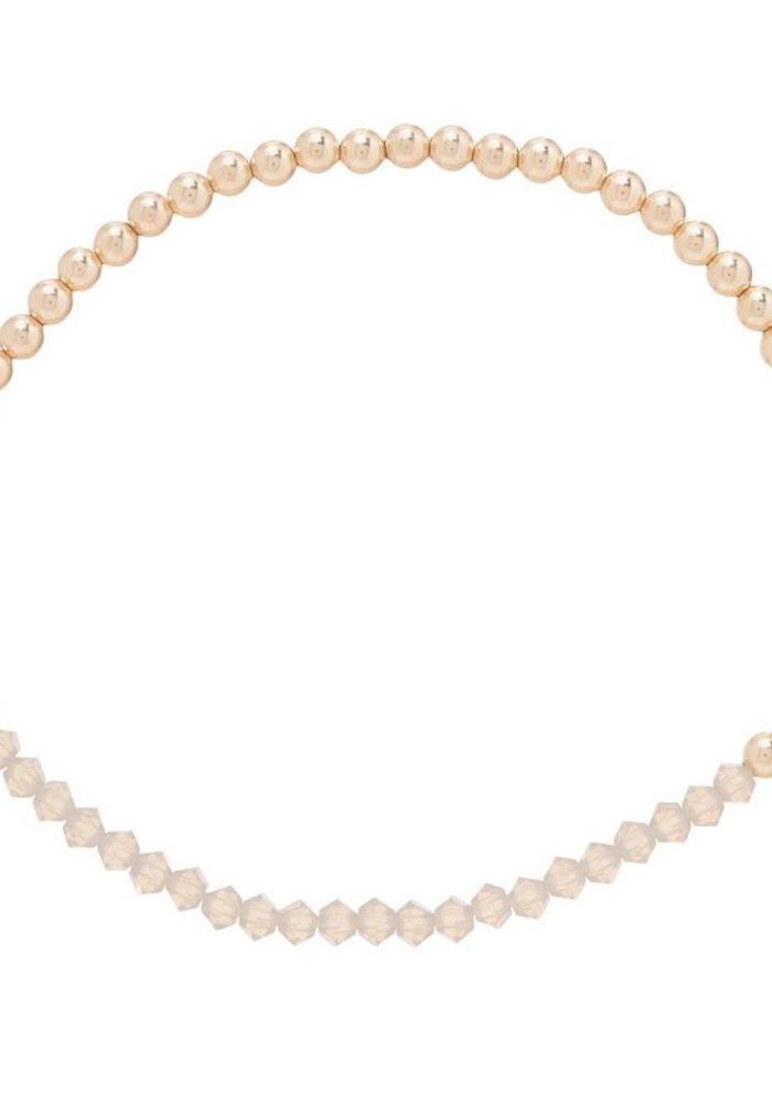 Crystal Bliss Gold 3mm Bead Bracelet Grey Opal
