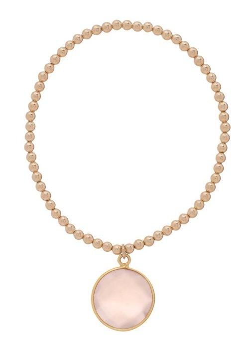 Enewton Classic Gold 3mm Bead Bracelet Regal Rose Quartz Charm