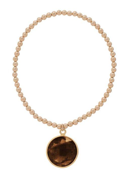 Enewton Classic Gold 3mm Bead Bracelet Regal Smokey Quartz Charm