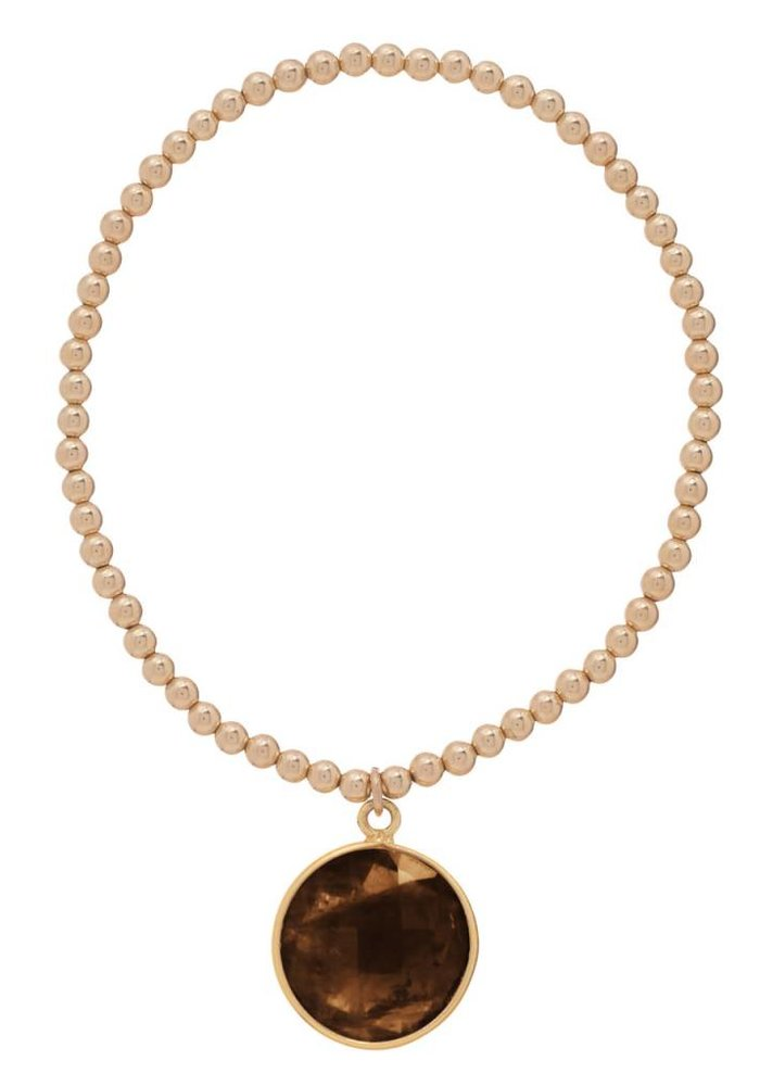 Classic Gold 3mm Bead Bracelet Regal Smokey Quartz Charm