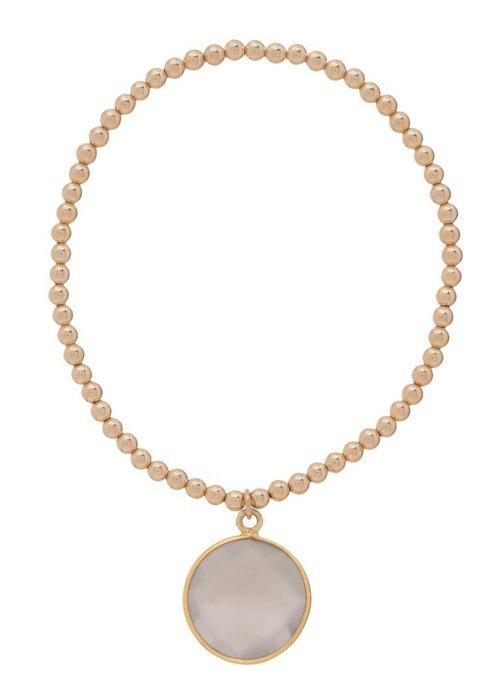 Enewton Classic Gold 3mm Bead Bracelet Regal Grey Moonstone Charm