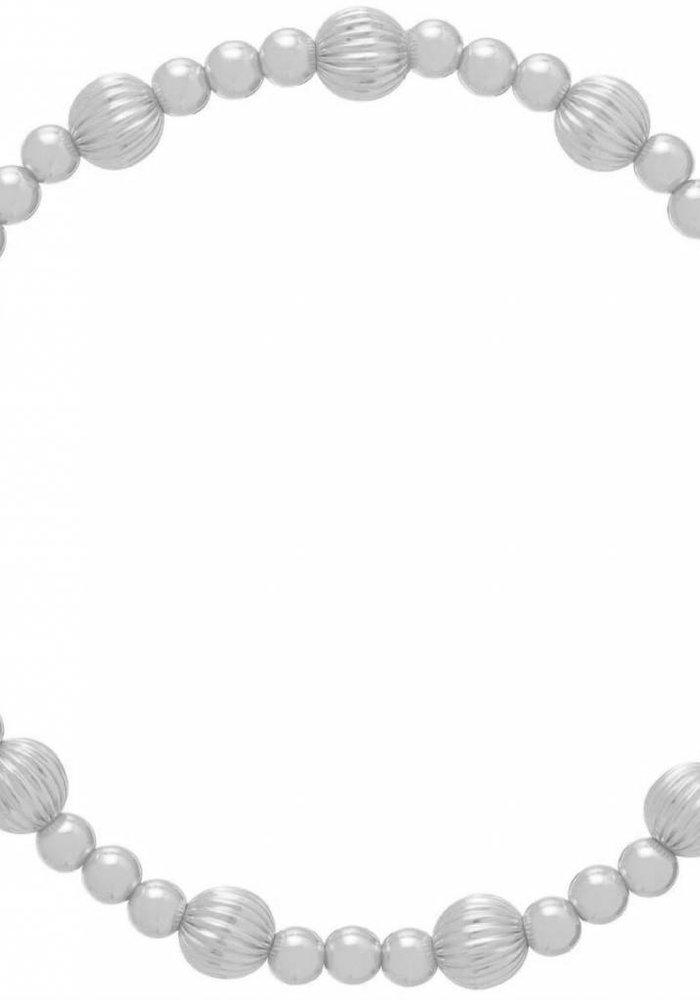 Dignity Sincerity Pattern 6mm Bead Bracelet - Sterling