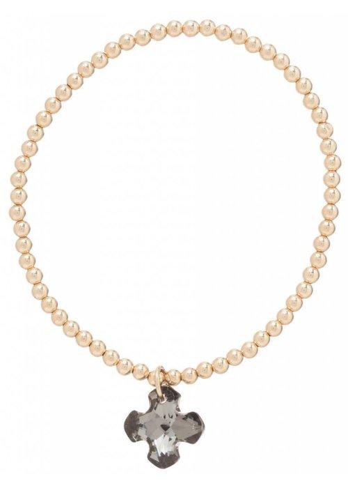 Enewton Classic Gold 3mm Bead Bracelet Greek Cross Small Crystal Charm- Black Diamond