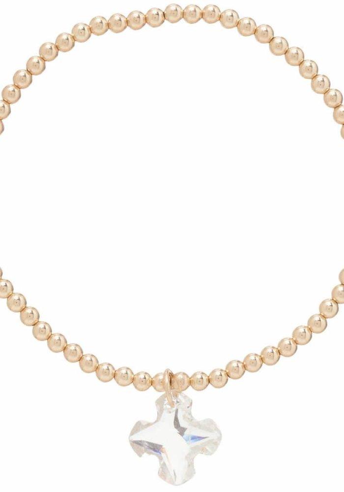 Classic Gold 3mm Bead Bracelet Greek Cross Small Crystal Charm-Clear