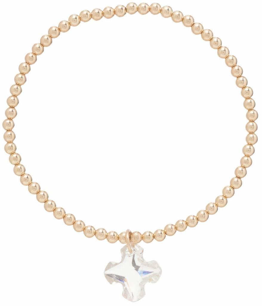 Enewton Classic Gold 3mm Bead Bracelet Greek Cross Small Crystal Charm-Clear