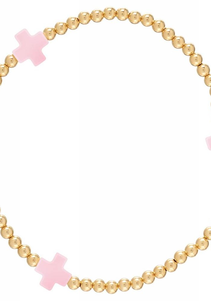 Signature Cross Gold Pattern 3mm Bead Bracelet Pink