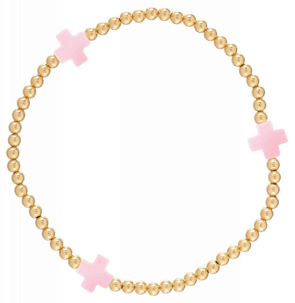 Enewton Signature Cross Gold Pattern 3mm Bead Bracelet Pink