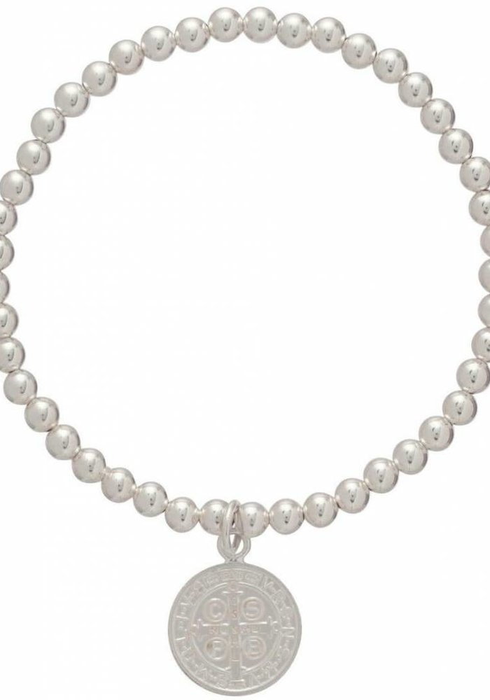 Classic Sterling 4mm Bead Breacelet Blessing Large Sterling Charm